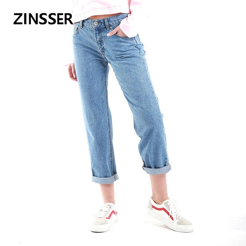 Autumn Winter Retro Women Denim Mom Style Pants Casual High Waist 100% Cotton Washed Blue Boyfriend  Female Lady Jeans