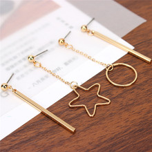 New Fashion Gold Plated Punk Star Round Triangle Tassel Jewelry Long Pendant Drop Earrings for Women Jewelry Accesories
