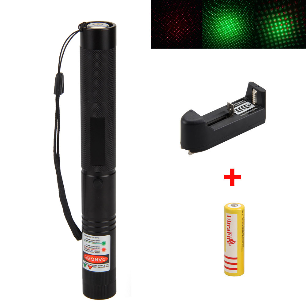 532nm Waterproof High Power 1mW Green+Red 650nm Laser Pointer Light  Beam+4000mAh 18650 Battery+AC Charger 100mw650nm cross red laser head high power red positioning marking instrument high quality