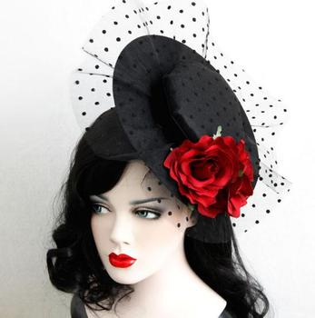 Party Gift Mini Top Hat Rose Flower Lace Fascinator Hair Clip Accessory Goth Hats Vintage