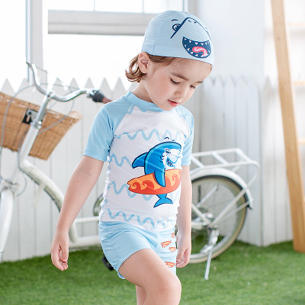 Hearty 2019 New Summer Baby Boys Swimsuit 1-7 Age Separate Kids Swimwear Shark Printed T-shirt Short Pants Beach Swimming Suit 3pcs/set Complete Range Of Articles Shoes