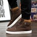 Moda Transpirable Mantener Caliente Botas de Invierno Punta Redonda Lace Up Men Zapatos Casuales Botines Guapos Estilo Estudiante Botas Hombre