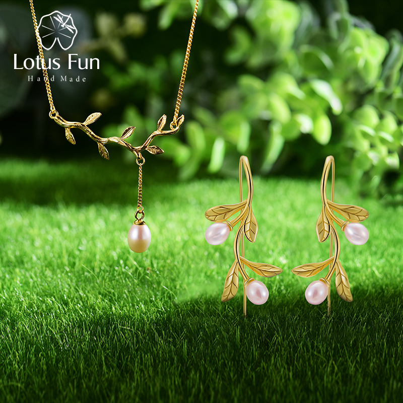 Lotus Fun Real 925 Sterling Silver Natural Pearl Fine Jewelry Waterdrop from Olive Leaves Jewelry Set with Drop Earring NecklaceLotus Fun Real 925 Sterling Silver Natural Pearl Fine Jewelry Waterdrop from Olive Leaves Jewelry Set with Drop Earring Necklace