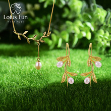 Lotus Fun Real 925 Sterling Silver Natural Pearl Fine Jewelry Waterdrop from Olive Leaves Jewelry Set with Drop Earring Necklace(China)