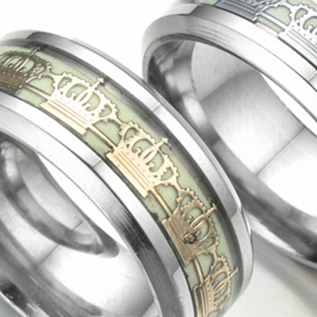 HOT Luminous Fluorescent Ring Crown Ring Stainless Steel  Personality Original JewelryJewelry Women Men Wild Ring 8mm