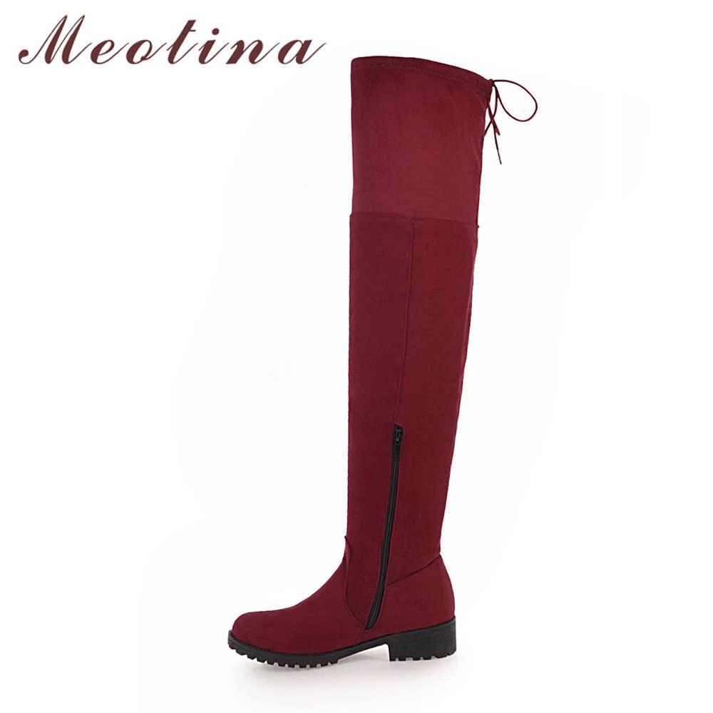 Meotina/ботфорты выше колена зимняя обувь высокие сапоги до бедра женские пикантные высокие сапоги на не сужающемся книзу массивном каблуке Женская обувь на молнии; размеры 34-43