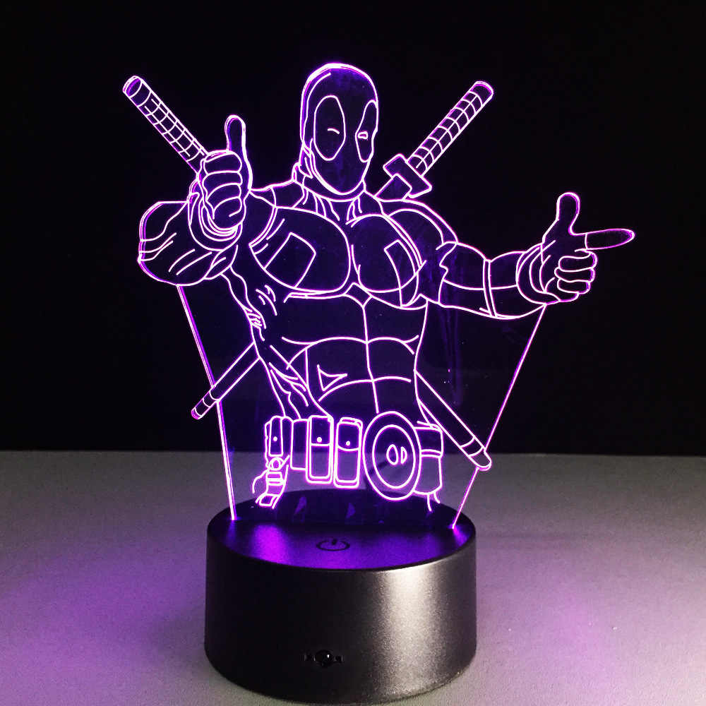 Deadpool Superher brinquedo da novidade lâmpada 7 mudando a cor ilusão visual LED luz Deadpool figura de ação brinquedo de presente de aniversário para o miúdo