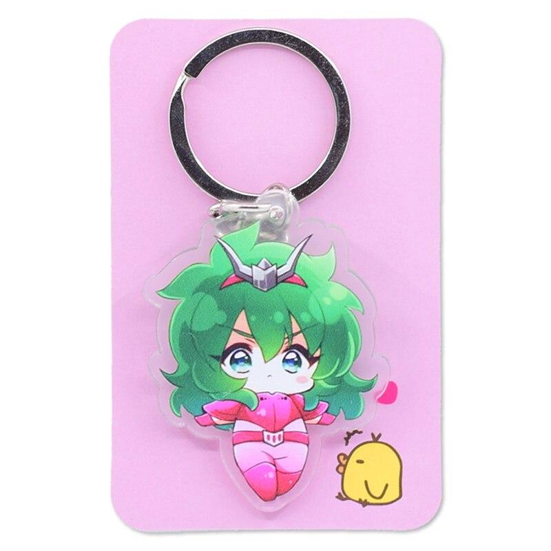 Image 5 - Saint Seiya Keychain Double Sided Cartoon Keyrings Cute Anime Acrylic Pendant Accessories PCB248 253Key Chains   -