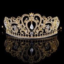 Rey corona Nupcial Tiaras Coronas de Cristal Rhinestone diadema Nupcial Accesorios De La Boda de la Reina Celada Diadema Tiara De La Boda