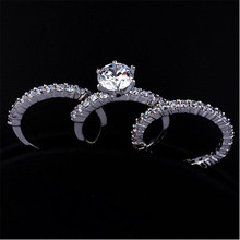 Bamos Fashion 3pcs Crystal Ring Set Luxury Stacking Rings Fo