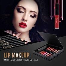NICEFACE Conjuntos de Longa Duração Matte Lipstick Batom Líquido + Lábios de veludo Kit de Maquiagem Lápis Batom À Prova D' Água Sexy Lábio Nu Gloss