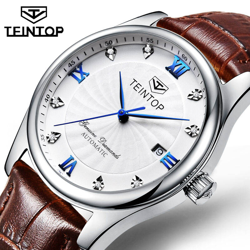 Fashion Design Men TEINTOP Top Brand Sport Wristwatches Automatic Mechanical Calendar Leather Watch Clock Relogio Masculino 2019
