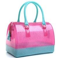 885 Spring Summer Medium Jelly Bag Women Beach Bag Candy Colored Transparent Crystal Handbag