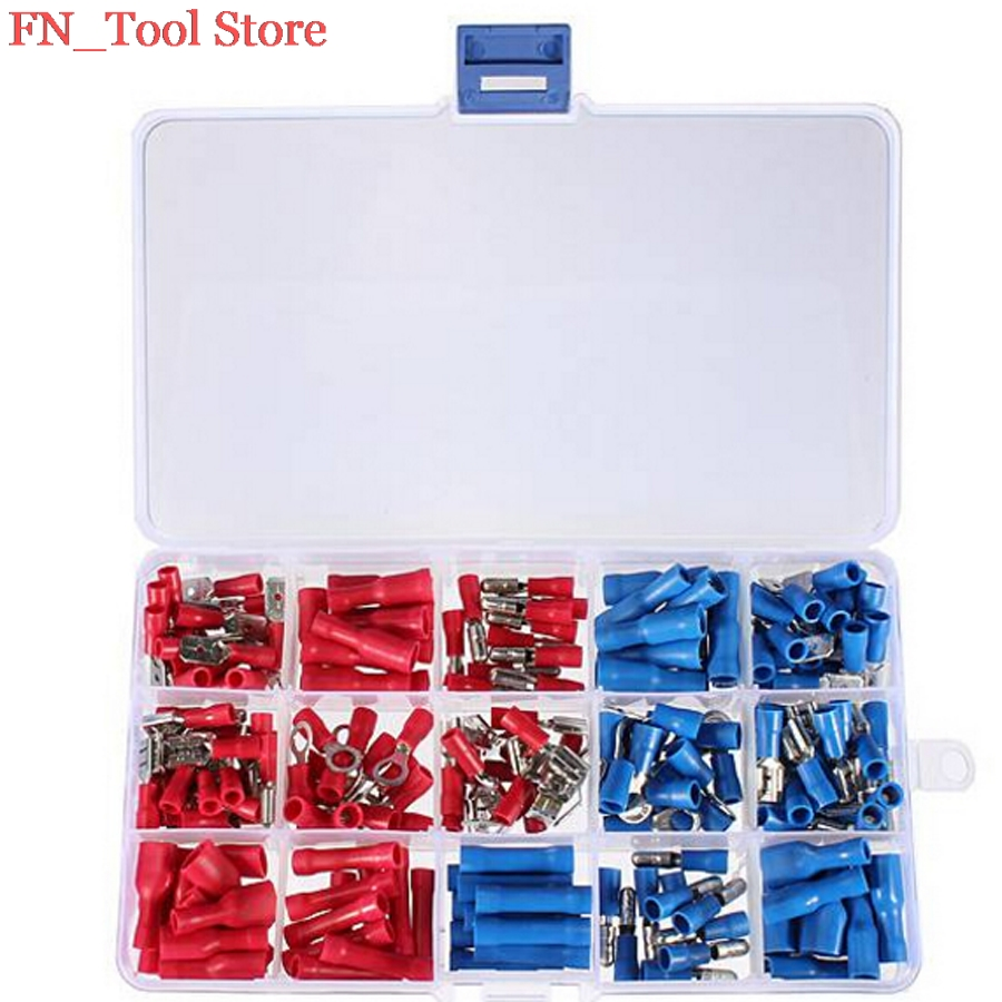 200Pcs/lot Assorted Insulated Electrical Wire Cable Terminals Crimp Connector Spade Set For Auto Industry