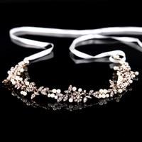 Gorgeous Antique Gold Handmade Ribbon Rhinestone Crystal Pearls Floral Bridal Wedding Tiara Headband Headpiece Hair Accessories