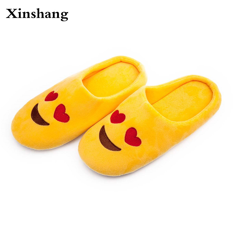 At Home Slippers Women Men Unisex Cute Cartoon Slippers Warm Soft Stuffed Household Indoor Shoes Emoji Smiley Emoticon Shoes men winter soft slippers plush male home shoes indoor man warm slippers shoes