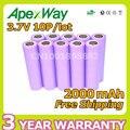 Apexway 10 unids/lote 3.7 V 2000 mAh li-Ion Recargable 18650 Baterías de energía móvil Cámara Batería de Linterna