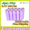 Apexway 10pcs/lot 3.7V 2000mAh li-Ion Rechargeable 18650 Batteries mobile power Camera Flashlight Battery
