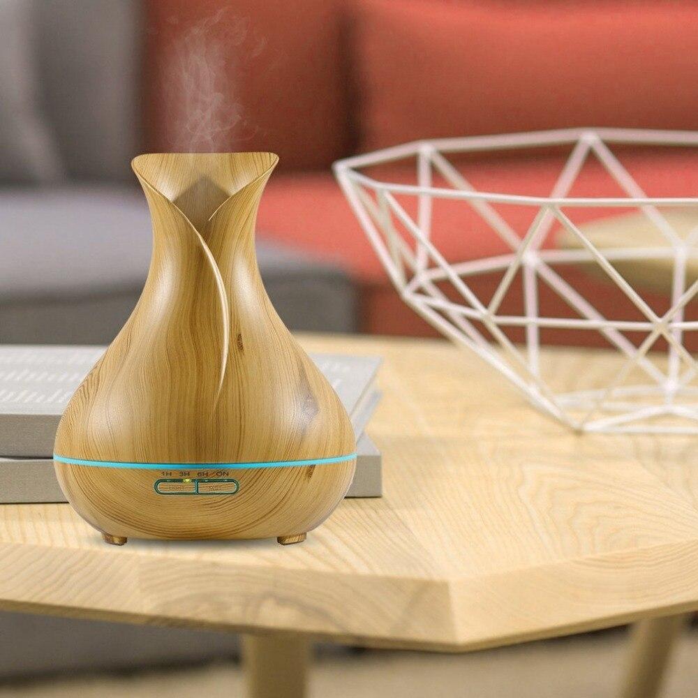 Air Humidifier Electronic LED Air Purifier 400ML Ultrasonic Aroma Diffuser Portable Wood Grain Essential Oil Purifier
