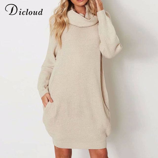 9628f35e6c Dicloud turtleneck winter sweater dress women offwhite plus size long  sleeve knitted dress oversize warm bodycon Christmas dress