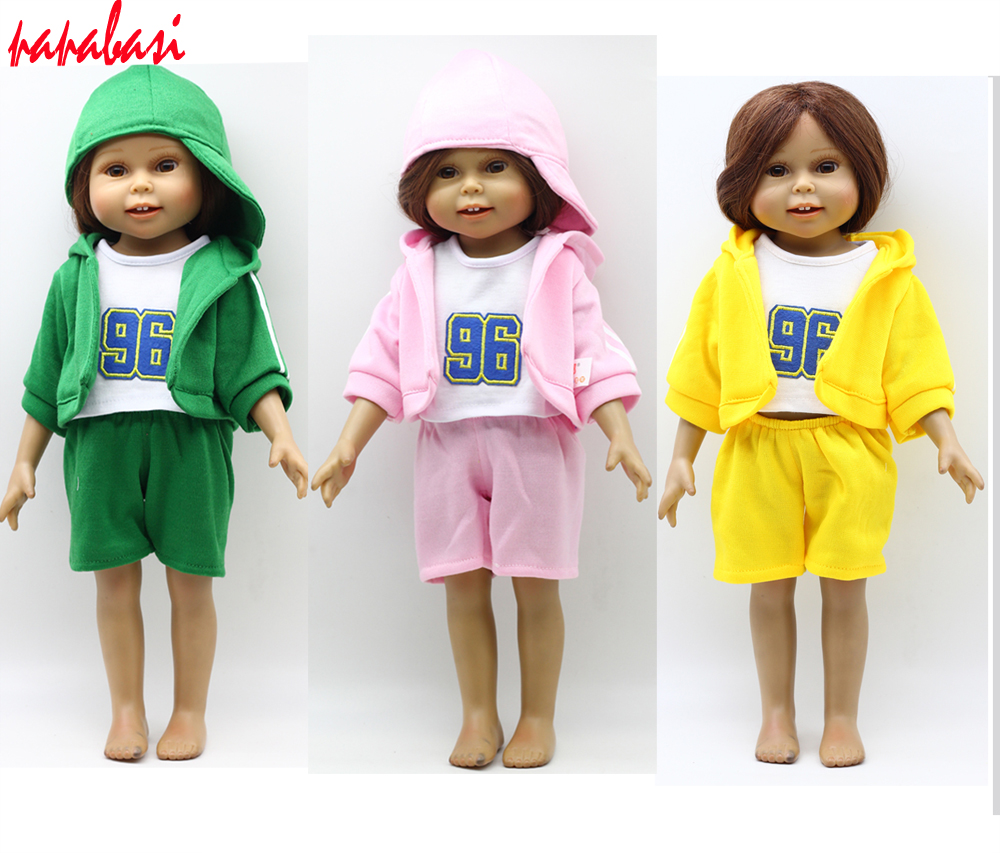 Fashion 4pcs = One set T-shirt suit fit for baby born zapf dolls as for 18 inch American girl dolls, T-shirt+coat+shorts+Hat fashion t shirt tie pants sneakers clothes for dolls 18 inch 45cm american girl and zapf baby born doll accessories