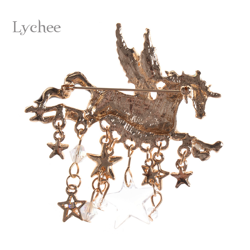 Lychee White Flying Horse with Star Metal Brooch Pin on Badge Sweater Collar Clothing Accessories Wedding Decoration Craft
