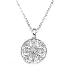 Ladies Fashion Round Necklace Geometric Pattern Pendant Birthday Charm Valentines Day Gift Accessories