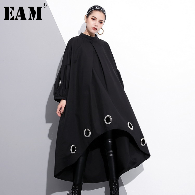 [EAM] 2019 New Spring  Round Neck Long Sleeve Solid Color Black Metal Ring Big Size Hollow Out Dress Women Fashion Tide JE29201