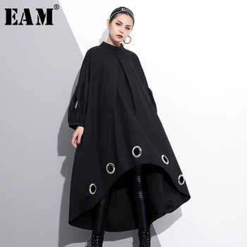[EAM] 2019 New Spring  Round Neck Long Sleeve Solid Color Black Metal Ring Big Size Hollow Out Dress Women Fashion Tide JE29201 - DISCOUNT ITEM  25% OFF All Category