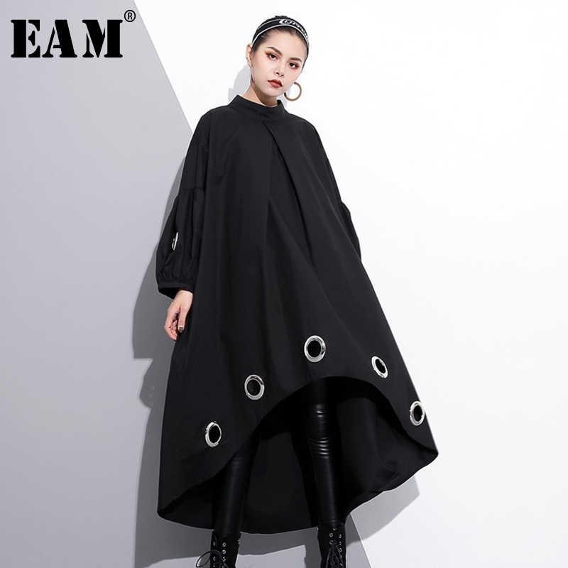 [EAM] 2020 nowa wiosna wokół szyi z długim rękawem Solid Color czarny metalowy pierścień Big Size sukienka z dziurami kobiet mody fala JE29201