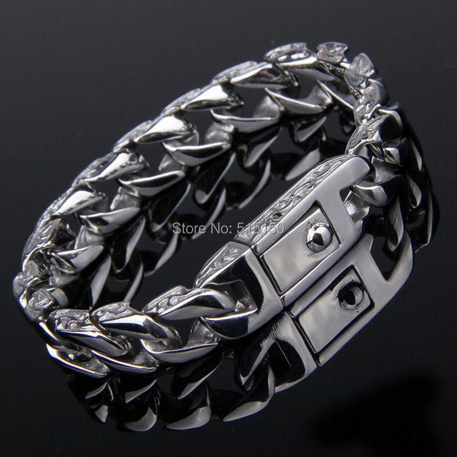 Customized Silver Tone 316l Stainless Steel Curb Cuban Bracelet