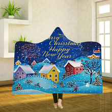 Yoga mat Hooded Blanket Cloak Magic Hat Thick Double-layer Plush 3D Digital Printing Christmas Series