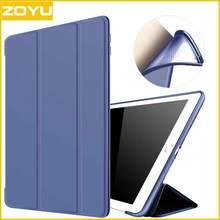 ZOYU Nuevo Caso para iPad, para el ipad 2017 caja de LA PU Trasera Transparente Ultra Delgado Ligero Trifold Cubierta Elegante para el nuevo caso del ipad
