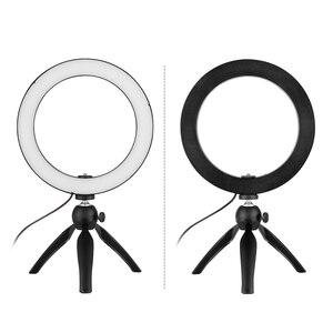 Image 2 - 4.6/8.6 Cal 60/120 LED lampa pierścieniowa wideo z uchwyt do smartfona do telefonu z mini stojak trójnóg LED Light do fotografii