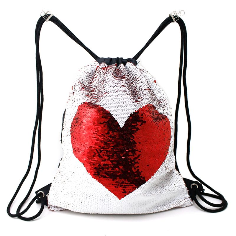 1PC 2018 Unisex Magic Reversible Sequined Mermaid Drawstring Backpack Suitable For Halloween Christmas Valentine's Day Gifts