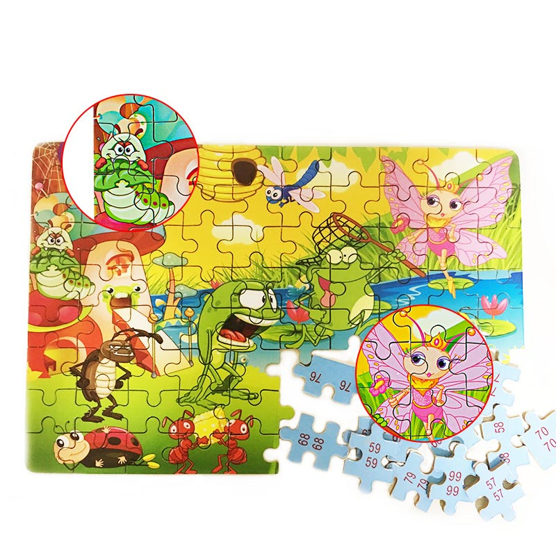 80 шт./компл. дерево мультфильм 3D головоломки Игрушечные лошадки для детей раннего образования с коробкой bm88