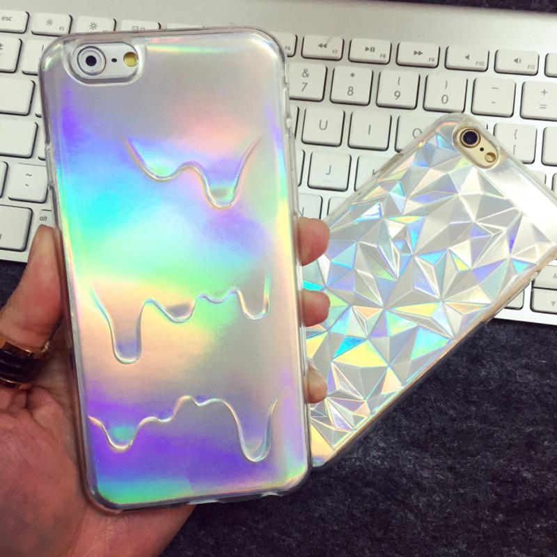 Fashion Opalescent Shell Case For IPhone 55S 6 6plusip78X 3D Diamond Rainbow Colorampice Cream