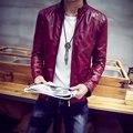 New 2016 male water wash PU leather jacket button decorative slim fit bomber jacket men chaquetas plus size m-6xl 3-colors /PY19