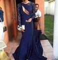 Azul marino de Manga Larga Vestidos de Noche Africanos 2016 Busto Tramo Satinado Piso-Longitud de Hendidura Sirena Mujeres Formal Vestidos de Noche