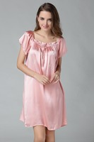 8 Colors 100% Pure Silk Short Sleeves Chemise One Size