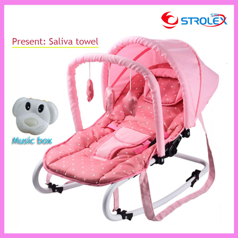 Portable Folding Newborn Baby Swing Chair Lounge Rocking Chair Bouncer Recliner with Toys and Music Box 0~15 Months newborn baby rocking chair comfort toddler cradle deck chair sleeping swing lounge chair bouncers with music pillow summer mat