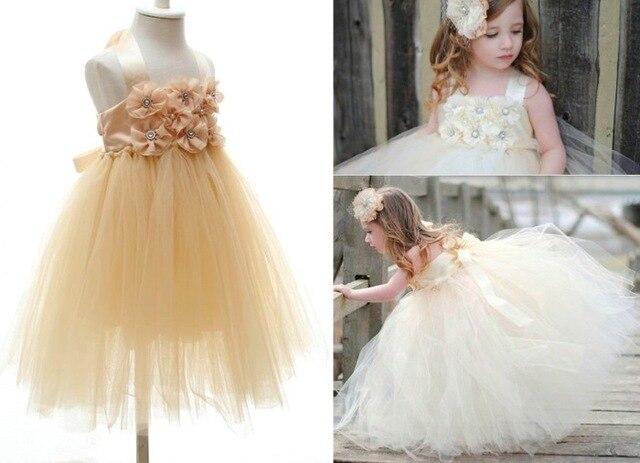 37e7b8b3003 Toddler girl dresses champaign gold   white birthday tutu dresses for girls  tube dress flower ball