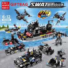 695Pcs City SWAT Police Truck Building Blocks Ship Helicopter Vehicle LegoINGLs Creator DIY Bricks Educational Toys for Children city police swat helicopter car building blocks compatible legoingls brinquedos bricks playmobil educational toys for children