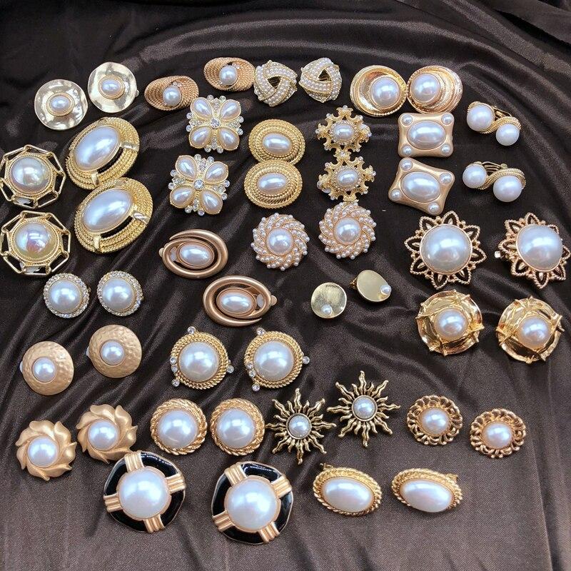 Elegant Sweet Pearls Styles Geometric Alloy Clip Earring