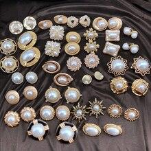 Envío Gratis pendientes elegantes con Clip de aleación con estilo geométrico de perlas dulces