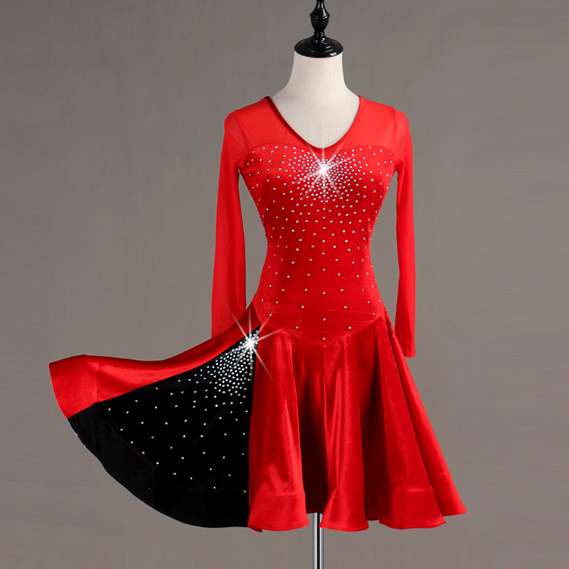 New Latin Dance Dress Sparkly Diamond Black And Red Long Sleeve Fashion Women/Female/Ladies  Rumba/Samba/Tango Dress DQL262