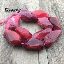 Poliester Faceted Red Dragon żyły agaty Nugget koraliki Mix rozmiar paski agaty kwarcowy Druzy wisiorek koraliki do biżuterii MY1557