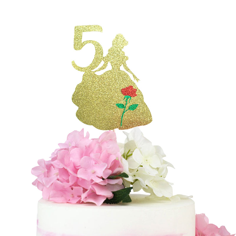 Belle Cake Topper Glitter Paper Beauty And The Beast Cake ...