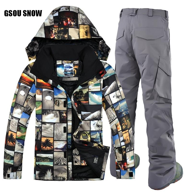 Free Shipping GSOU SNOW Brand Ski Suit Men Ski Jacket Pants Winter Mountain Skiing Suit Waterproof