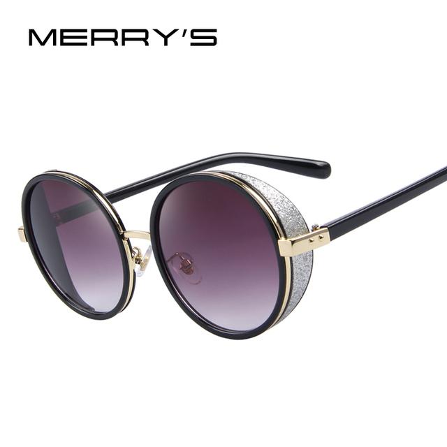 MERRY'S Mujeres Ronda Vintage gafas de Sol de Diseñador de la Marca Retro Steampunk Gafas de Sol S'8055